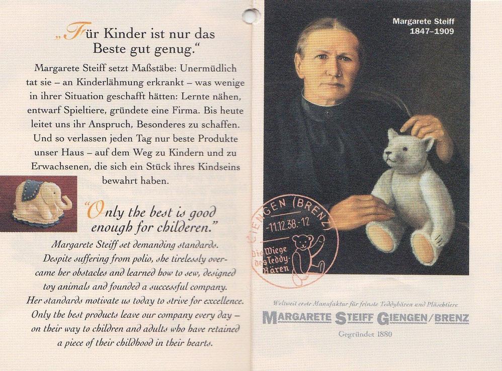 Маргарет Штейфф с мягкой игрушкой медведя в немецкой брошюре
